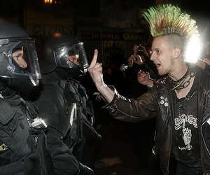 Mohawk, police, and punk image