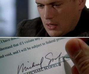 prison break, signature, and michael scofield image