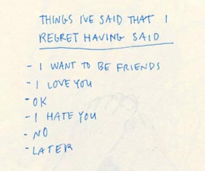 regret, text, and typography image