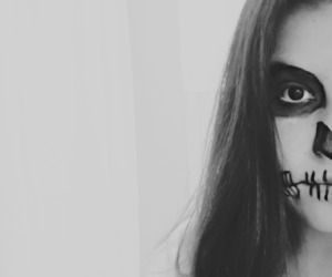 black and white, girl, and Halloween image