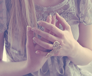 butterfly, fingers, and dress image