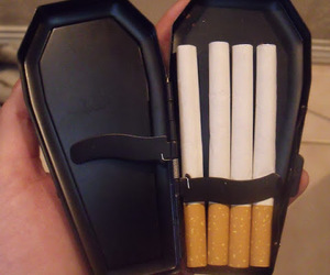 cigarette, black, and coffin image