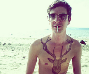 deer, tattoo, and guy image