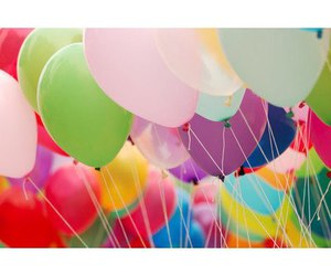 balloons, colorful, and blue image