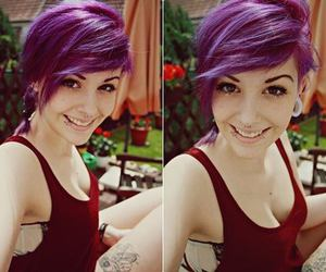 piercing, purple hair, and girl image