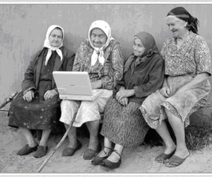 computer, old, and women image