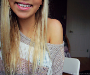 girl, smile, and blonde image