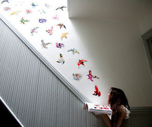 bird, girl, and book image