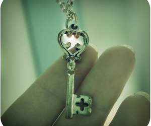 heart, key, and necklace image