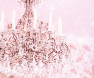 pink, chandelier, and light image