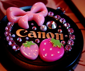 bow, strawberry, and canon image