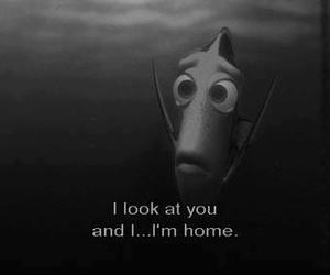 home, black and white, and finding nemo image