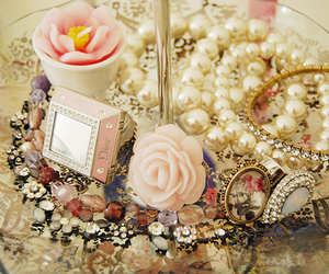 pink, pearls, and vintage image