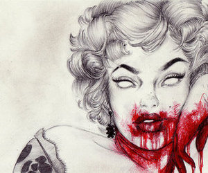 blood, Marilyn Monroe, and drawing image