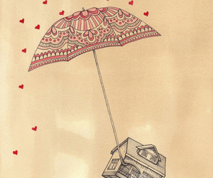 house, umbrella, and drawing image