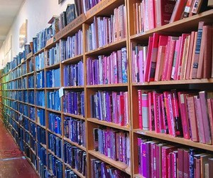 book, library, and colorful image
