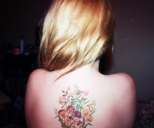 back, blonde hair, and flowers image