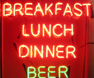 beer, sign, and breakfast image