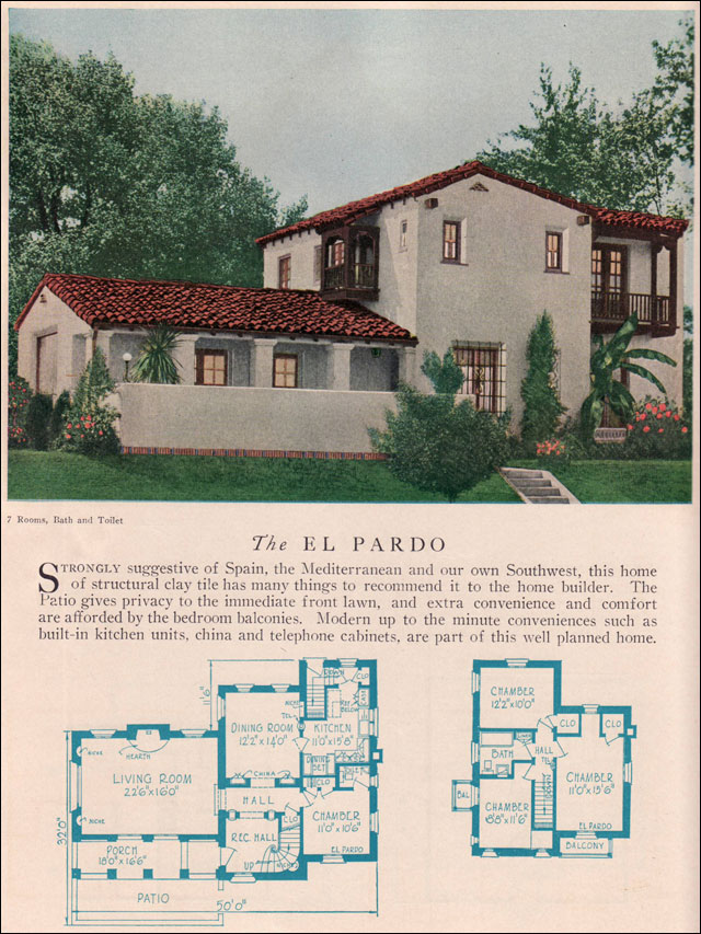 American Residential Architecture The El Pardo House Plans 1929 Home Builders Catalog Spanish Colonial Revival Monterey Style