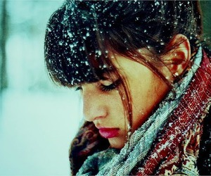 girl, snow, and cold image