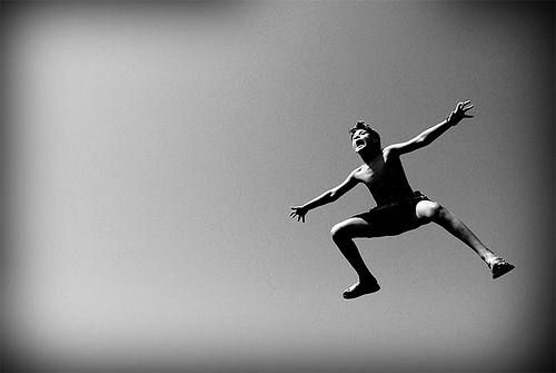 black and white, jump, and boy image