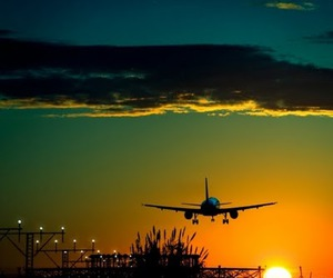 airplane, sunset, and sky image