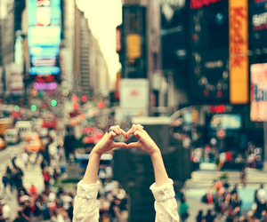 heart, lights, and new york image