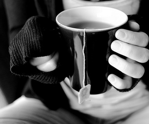 tea, black and white, and hands image