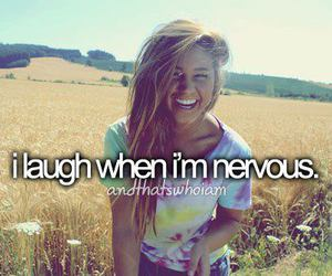 laugh, nervous, and text image