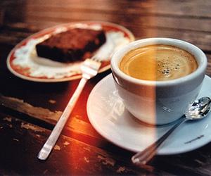 coffee, brownie, and cake image