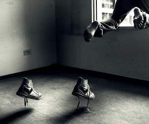 black and white, feet, and sneakers image