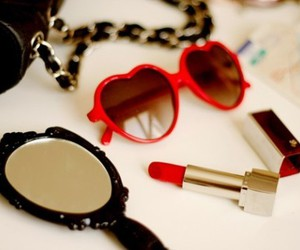 lipstick, mirror, and red image