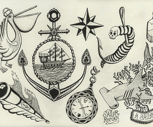 anchor, illustration, and ink image