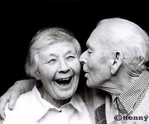 love, black and white, and old couple image