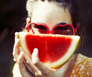 girl, watermelon, and red image