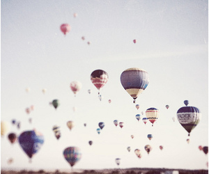 balloons, sky, and vintage image