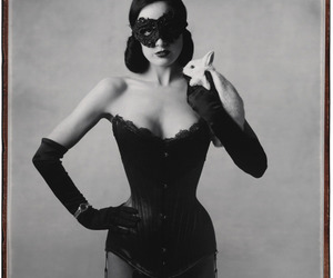 Dita von Teese, corset, and mask image
