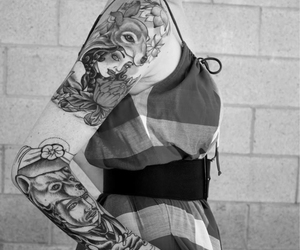 arm tattoo, septum piercing, and inked girls image