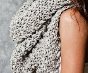 grey, scarf, and knitted image