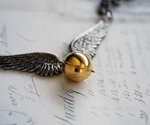 harry potter, gold, and snitch image