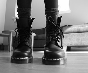 black and white, docs, and skinheads image