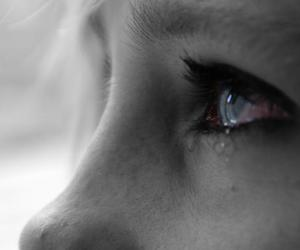 cry, black and white, and blue image