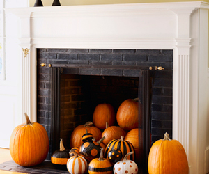 pumpkin, fireplace, and Halloween image