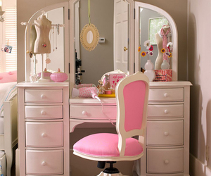 pink, room, and dressing table image