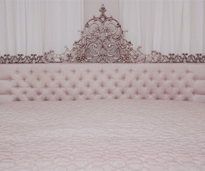 bed, gold, and pastel image