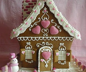 pink, gingerbread house, and hearts image