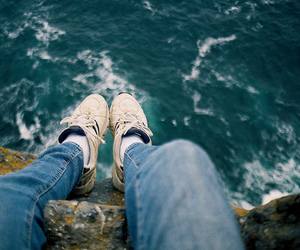 feet, sea, and shoes image