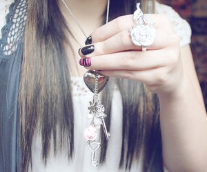girl, necklace, and nails image