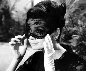 audrey hepburn, black and white, and mask image