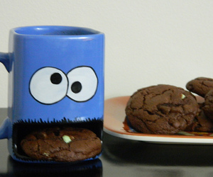 cookie, cookie monster, and cup image